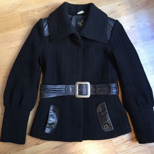 Mackage Leather and Wool Coat jacket Small